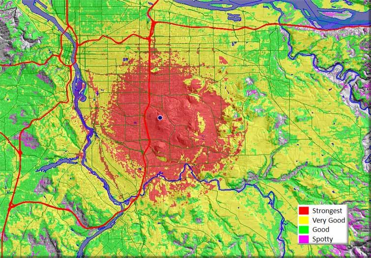 KISN coverage map